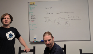 James and Jono brainstorming