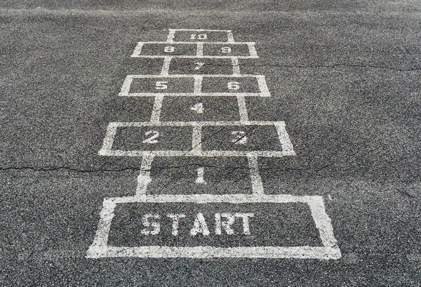A hopscotch grid represents iteration steps